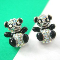 Small Panda Teddy Bear Rhinestone Stud Earrings in Black and White