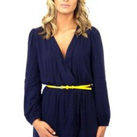 Navy Long Sleeve Wrap Dress with Cinched Waist