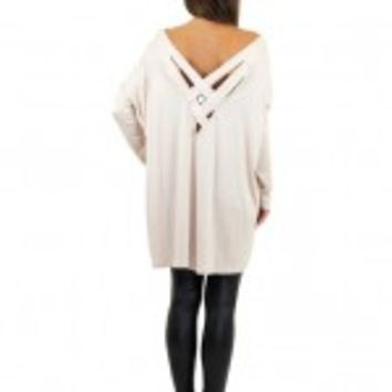 Taupe Oversized Top With Strappy Back