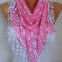 Valentine's Day Gift Pink Polka Dot Scarf Cotton Scarf Cowl Gift Ideas For Her  Women's  Fashion Accessories New Year's Fashion