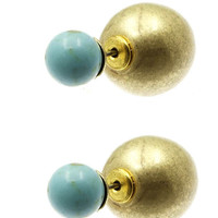 Bast Turquoise & Gold Double Sided Earrings