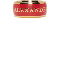 Red & Gold Alexander McQueen Enamel Ring
