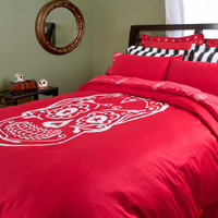 Red Sugar Skull Duvet Covers | Skull Bedding by Sin in Linen