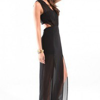 Mandarin Collar Chiffon Maxi Dress