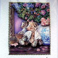 Teddy Bear, Hand Crafted 3D Decoupage Card, With Love (1686)