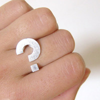 Round Question mark  Sterling Ring  by SmilingSilverSmith on Etsy