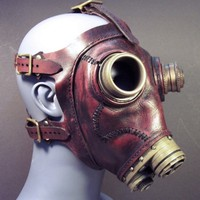 Gas mask No43 in red leather steampunk by TomBanwell on Etsy