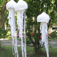 Set of 3 Large Upcycled Crochet Jellyfish. OOAK made to Order. Home Decor