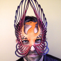 Phoenix leather mask in oranges by TomBanwell on Etsy
