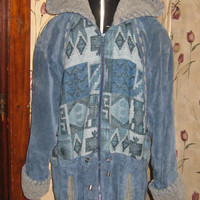 80&#x27;s Slouchy Winlit  Southwestern   Boho hipster  blue genuine suede leather and indian blanket hooded coat jacket