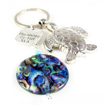 Sea Turtle Keychain, Dreaming of the Sea Keychain, Abalone Shell Keychain, Car Accessory, Shell and Turtle Keyring, Valentine Gift