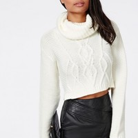 Missguided - Aliya Roll Neck Cable Knit Crop Jumper Cream