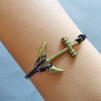 Anchor Bracelet leather bracelet women bracelet girl bracelet made of  bronze anchor and black leather wrist bracelet  SH-0355