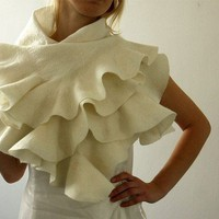 Felted wavy ruffled shawl scarf Wedding Brides by JurgitaMi