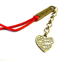 Follow Your Heart Brass Bookmark, Red Leather Book Marker, Valentine Day Sale, Graduation Gift, Suede Bookmark, Gift Under 15, Red Accessory