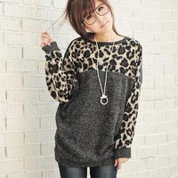 YESSTYLE: YoungBaby- Leopard-Print Panel Pullover (Gray - One Size) - Free International Shipping on orders over $150