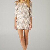 Taupe Sequin Zig-Zag Shift Dress with 3/4 Length Sleeves