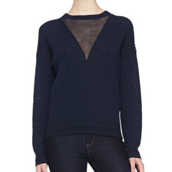 Joseph Honeycomb-Stitched Contrast Sweater, Navy