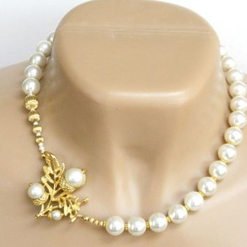 White Glass Pearl Necklace Recycled Avon Pin Gold Short Handmade