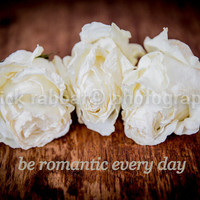 """Three Dried Roses Instant Digital Download Fine Art Photography Romantic Bedroom Bathroom Decor White """"be romantic every day"""" trending Quote"""