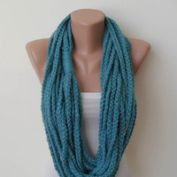 Chain Scarf - Wool Crochet Knit Necklace Scarf - Blue - Soft - Infinity - Eternity - Loop - Circle - Circular - Cowl by Umbrella Design
