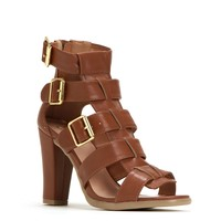 Cognac Buckle Up Heels