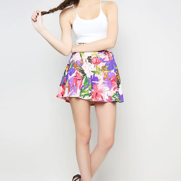FLORAL PRINT FLARE SKIRTS