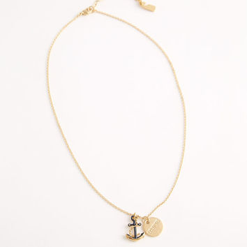 Anchor and Disk Charm Necklace