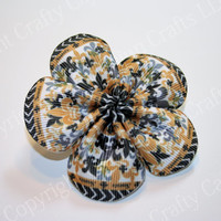 Black & Gold Fleur De Lis Ribbon Flower With French Clip