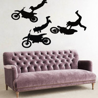 Bike Wall Decals Motorcyclist Boys Chopper Biker Extreme Sport Home Interior Design Vinyl Decal Sticker Art Mural Kids Baby Room Decor KG687