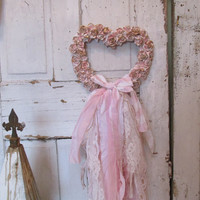 Carved rose heart wall hanging painted pink, gold and white with tattered fabric lace home decor anita spero design
