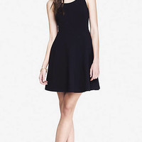 LATTICE BACK SKATER DRESS - BLACK from EXPRESS