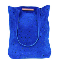 Suede Dot Tote - One Size / Cobalt
