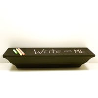 chalkboard accent shelf, black decor, kids room, home office, chalk board, upcycled home decor, school, organization, shelves