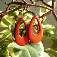 Faux Red Resin Wood Sterling Silver Oval Loop Earrings