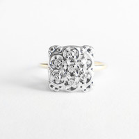 Vintage - 1950s Floral Diamond Square Ring