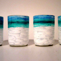 Votive Candle Holders Small Hand Painted Light Blue and Teal