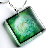 lone dandelion ttv green pendant  hangs on 18 inch by bethtastic