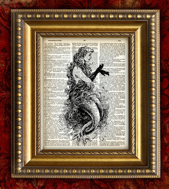 Vintage Dictionary Page Art Print MERMAID Vintage by EncorePrints