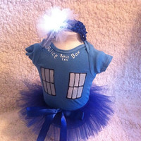 TARDIS Onesuit Costume with Tutu and Light Up Headband