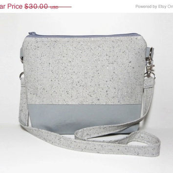 VALENTINES DAY SALE Grey Silver Shoulder Bag, Small Eco-friendly Handbag, Zippered Tote, Modern Women's Accessory, Small Crossbody Bag
