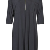 Slinky Jersey Zip Dress - Charcoal