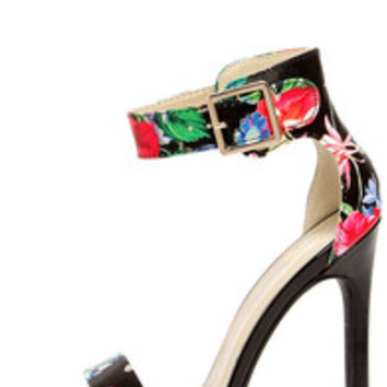 My Delicious Canter Black Floral Print Ankle Strap Heels