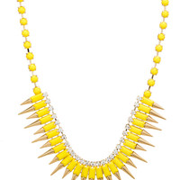 Multi Spike Bib Necklace in Yellow