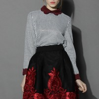 Plaid Top with Wine Scallop Collar