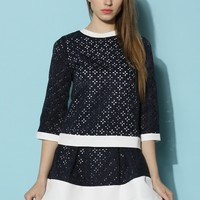 Contrast Jacquard Top and Skirt Set
