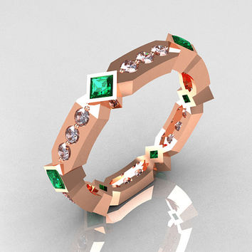 Classic 14K Rose Gold .27 ctw Diamond .48 ctw Emerald Eternity Ring Y256-14KRGDEM
