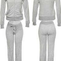 ROMEO & JULIET COUTURE Velour Active Set W/ Rhinestone Shoulders [RJ24897P/ RJ24897J], Heather Grey...