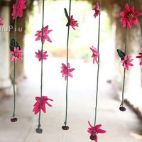Buy 3 Get One Free Cute pink flower Boutique curtain by ThePiu