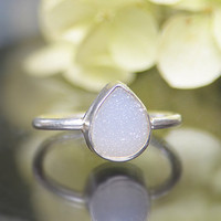 White druzy sterling silver pear drop shape stacking bezel set ring - Size 5, 6 or 7